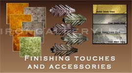 Lighting accessories, finishes, glass options