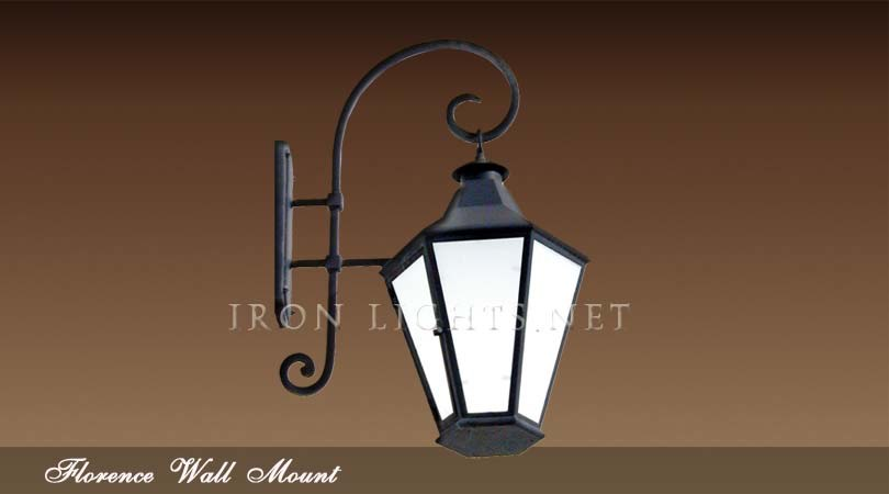 Wrought iron outdoor wall sconce
