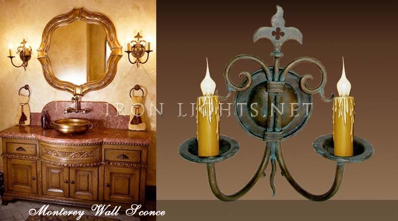 Bathroom wrought iron sconces