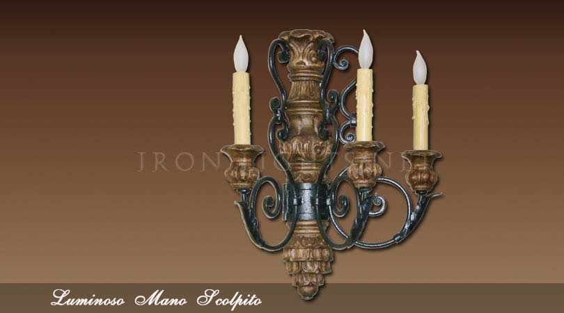 hand-carved wall sconce