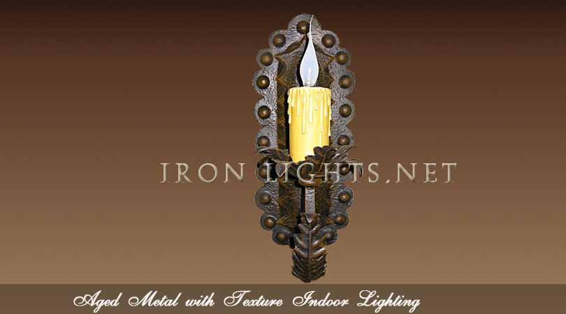 Aged metal finish indoor lighting