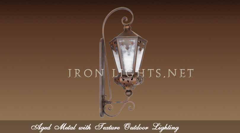 Aged metal finish outdoor lighting