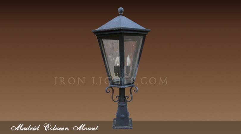 Mediterranean post mount madrid outdoor wrought iron for Mediterranean lighting fixtures