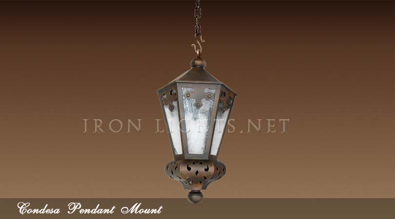 Hacienda pendant iron lights condesa spanish revival for Spanish revival lighting fixtures