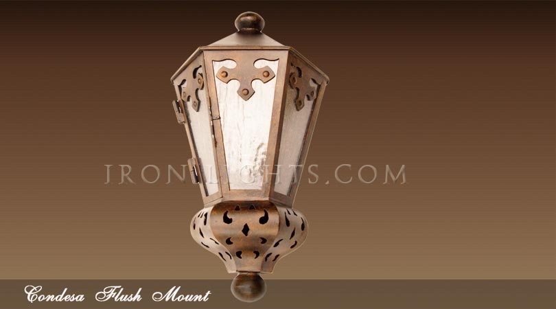 Spanish hacienda flush mount lights
