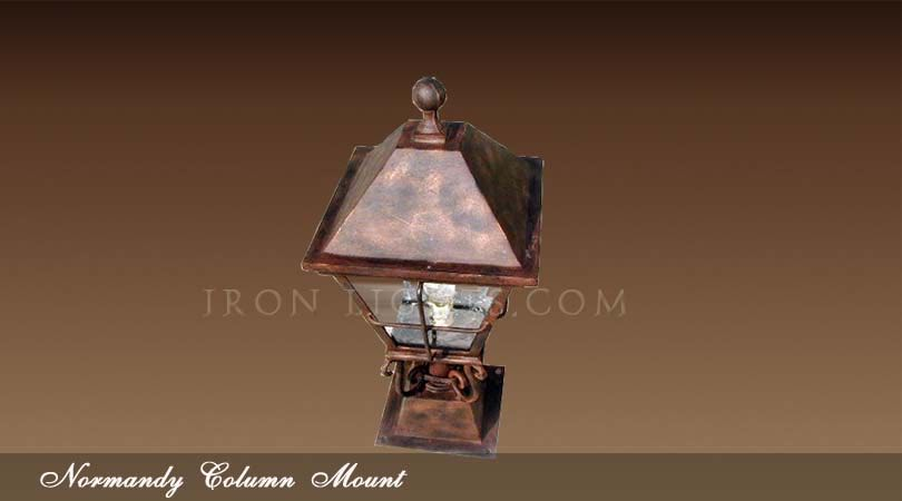 wrought iron column mount lights