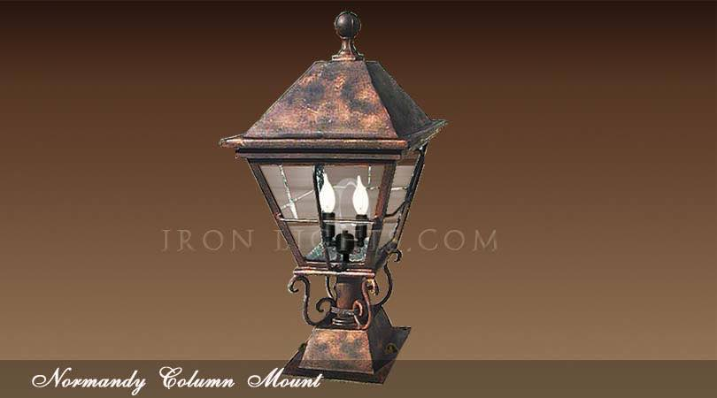 Normandy Iron column mount lights