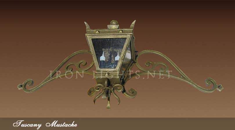 Rustic iron mustache light fixtures