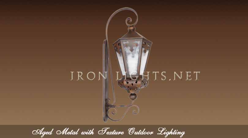 Aged metal finish outdoor lighting