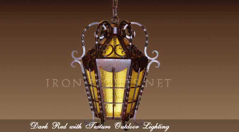 Dark red finish outdoor lights