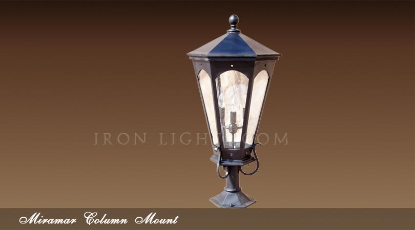 Mediterranean column mount outdoor wrought iron post lights for Mediterranean lighting fixtures