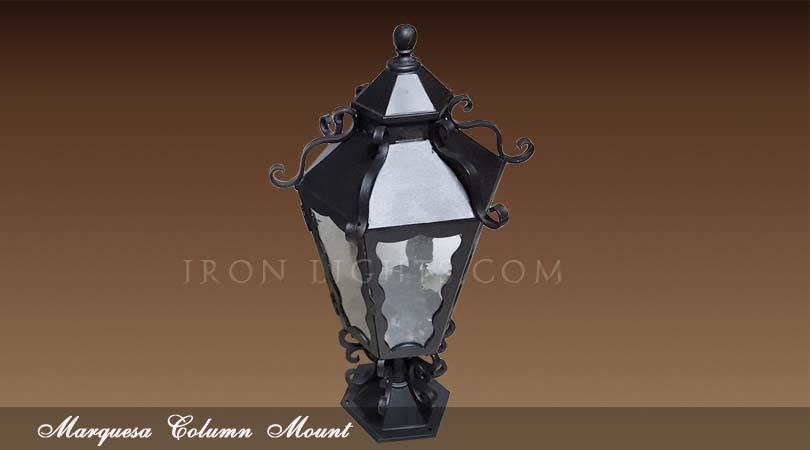 Spanish outdoor pedestal lights