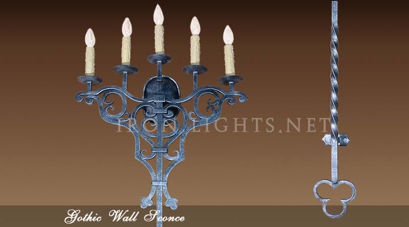 5 Lights medieval Gothic sconce